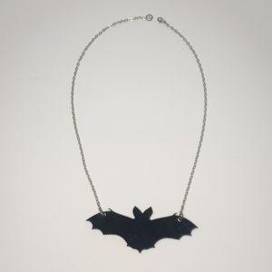 Black acrylic bat shaped necklace